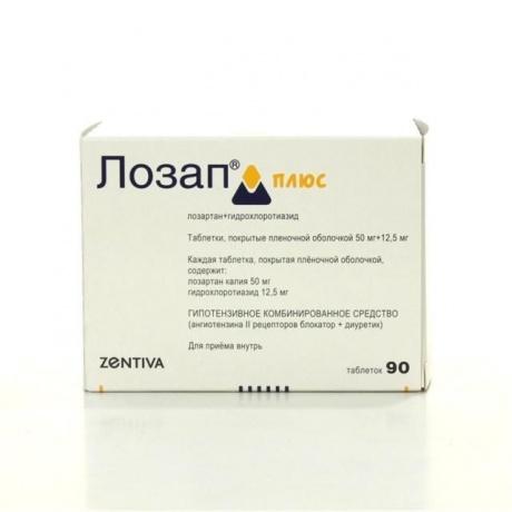 Лозап плюс таблетки 50 мг+12.5 мг, 90 шт.