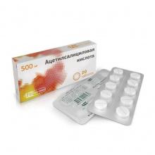 Ацетилсалициловая кислота таблетки 500мг, 20шт