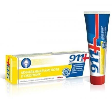 911 Окопник и муравьиная кислота гель-бальзам для суставов разогревающий 100 мл