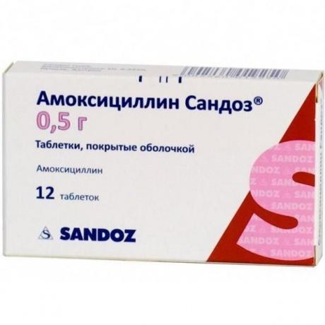 Амоксициллин Сандоз таблетки 500 мг, 12 шт.