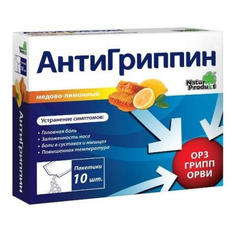 Антигриппин порошок для приготовления раствора Мед-лимон, 10 шт.