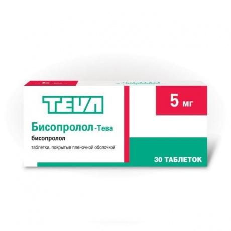 Бисопролол-Тева таблетки 5 мг, 30 шт.