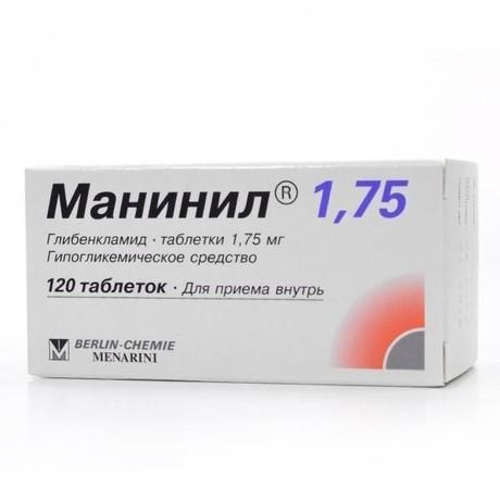 Манинил 1,75 таблетки 1,75 мг, 120 шт.