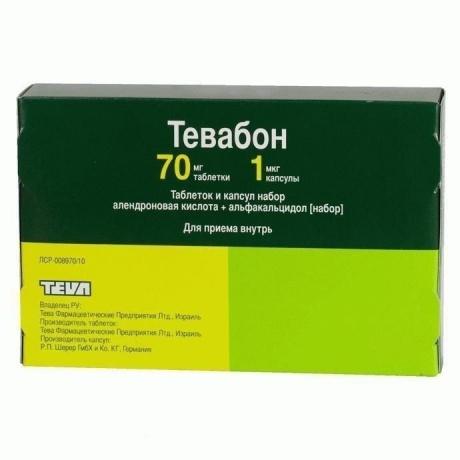Тевабон набор таб. 70мг №12 + капс. 1мкг №84