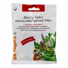 Доктор Тайсс-леденцы швейцарские травы с медом и витамином С, леденцы,  50 г