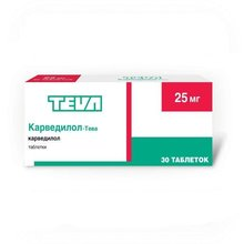 Карведилол-Тева таблетки 25 мг, 30 шт.