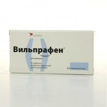 Вильпрафен таблетки покрытые плёночной оболочкой 500мг №10