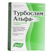 Турбослим Альфа-липоевая кислота и L-карнитин таблетки 550 мг, 60 шт.