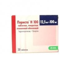 Лориста Н 100 таблетки 100мг + 12,5мг, 30 шт.
