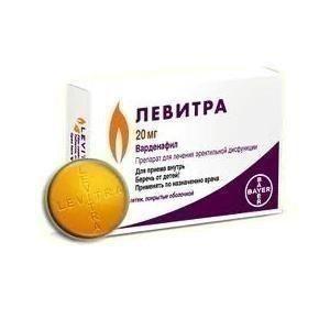 Левитра таблетка 20 мг, 1 шт.