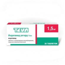 Индапамид ретард-Тева таблетки 1,5 мг, 30 шт.