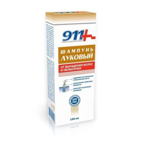 911 Шампунь ЛУКОВЫЙ против выпадения с Крапивой, 150 мл
