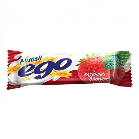 Батончики мюсли EGO клубника в йогурте 25 г