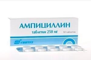 Ампициллин таблетки 250 мг, 10 шт.