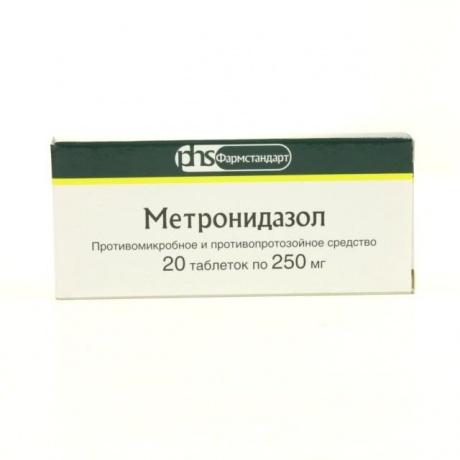 Метронидазол таблетки 250 мг, 20 шт.
