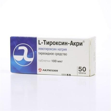 L-Тироксин-Акри таблетки 100 мкг, 50 шт.