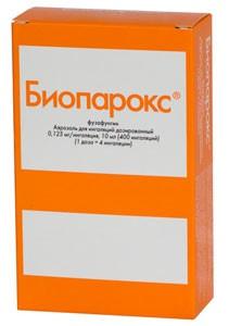 Биопарокс аэрозоль 0,125мг/доза 400 доз, 10 мл