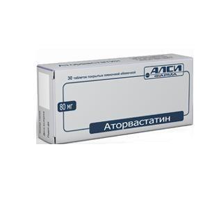 Аторвастатин таблетки 80 мг, 30 шт.
