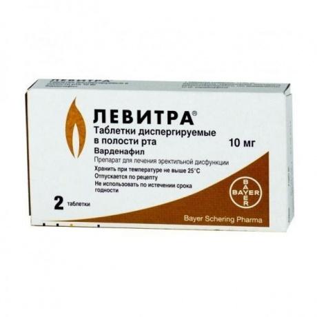 Левитра таблетки диспергируемые в полости рта 10 мг, 2 шт.