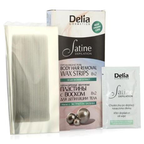 DELIA COSMETICS SOFT CARE полоски восковые для депиляции тела жемчужные, 16 шт.