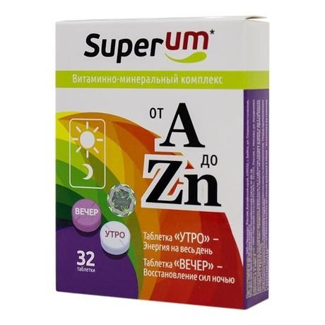 Superum Витаминно-минеральный комплекс от А до Цинка таблетки, 32 шт. утро-вечер