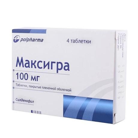Максигра таблетки 100 мг, 4 шт.