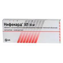 Нифекард ХЛ таблетки с модифицир. высвобождением 30 мг, 60 шт.