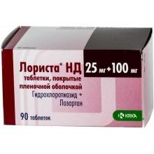 Лориста НД таблетки 100мг + 25мг, 90 шт.