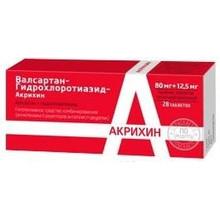 Валсартан-Гидрохлоротиазид-Акрихин таблетки 80мг+12,5мг, 28 шт.