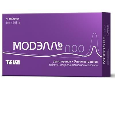 Модэлль Про таблетки п/об. кишеч./раств. 3мг + 0,03мг, 21 шт.