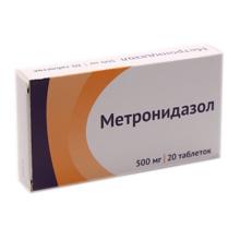 Метронидазол таблетки 500 мг, 20 шт.