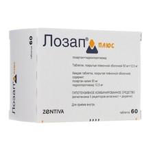 Лозап плюс таблетки 50 мг+12.5 мг, 60 шт.