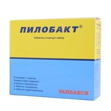 Пилобакт набор комбинир.(кларитромицин, тинидазол, омепразол) 6 стрип, 7 шт.