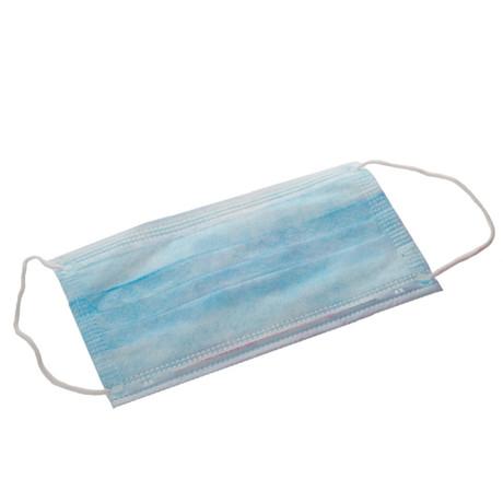 Маска медицинская трехслойная на резинках голубая, 1 шт.