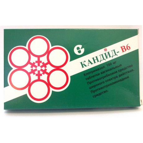 Кандид-В6 таблетки вагинальные 100 мг, 6 шт. стрипы (с апплик.)