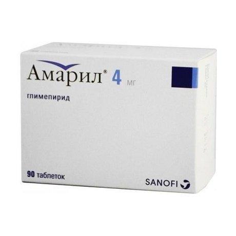 Амарил таблетки 4 мг, 90 шт.