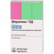 Мирапекс ПД таблетки 3 мг, 30 шт.