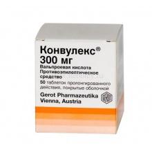Конвулекс таблетки 300 мг, 50 шт.