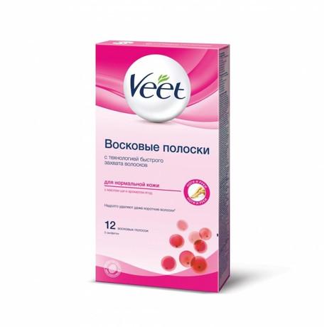 VEET восковые полоски для депиляции нормальной кожи, 12 шт.