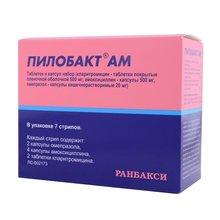 Пилобакт АМ набор комбинир.(кларитромицин, амоксициллин, омепразол) 8 стрип, 7 шт.