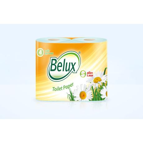 Бумага туалетная BELUX 2-слойная бирюзовая, 4 шт.