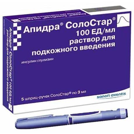 Апидра СолоСтар шприц-ручка 100 МЕ/мл 3 мл, 5 шт.