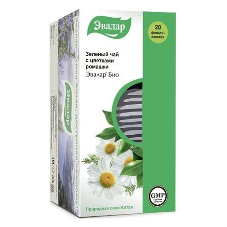 Чай лечебный ЭВАЛАР БИО зеленый фильтрпакетики 1,5 г, 20 шт.