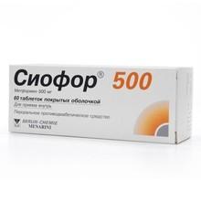 Сиофор 500 таблеток 500мг, 60 шт.
