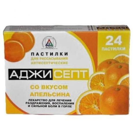 Аджисепт таблетки для рассасывания с апельсином, 24 шт.