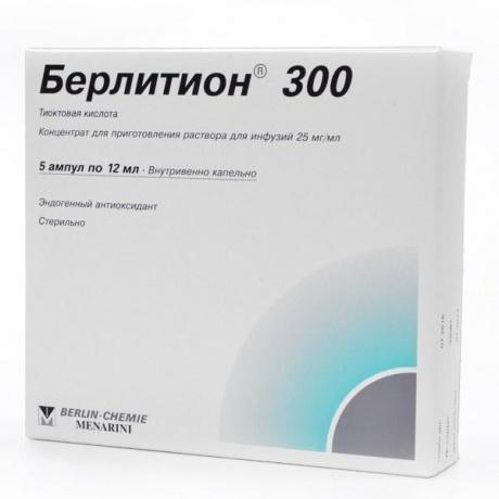 Берлитион 300 ампулы 25мг/мл 12мл, 5шт