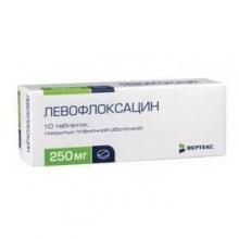 Левофлоксацин таблетки 250 мг, 10 шт.