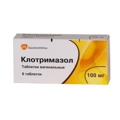 Клотримазол таблетки вагинальные 100 мг, 6 шт.